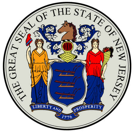 The great seal of the state of New Jersey isolated on a white background Illusztráció