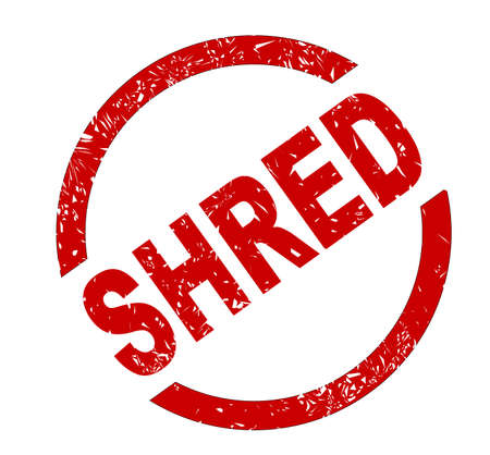 shred: A shred red ink stamp over a white background
