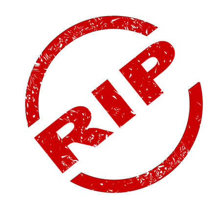 rest in peace: A RIP rest in peace red ink stamp over a white background