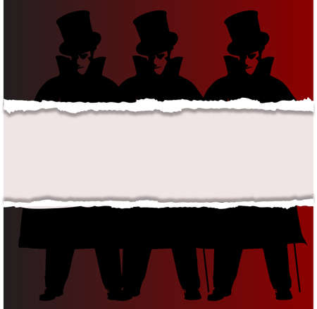A Jack the Ripper background with shadows and ripp and silhouette over a red background Illustration