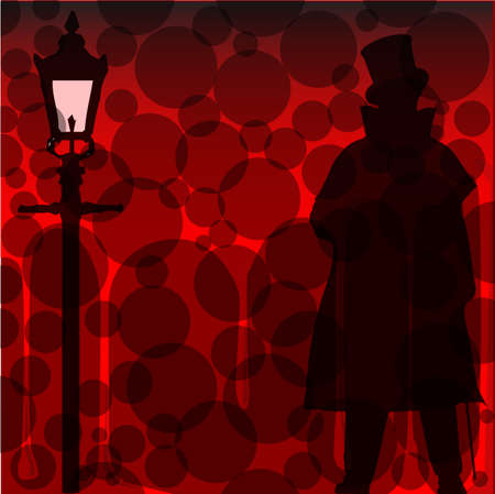 A Jack the Ripper background with shadowa and silhouette over a red background Illustration