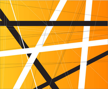 criss cross: An orange background with black and white criss cross items. Illustration