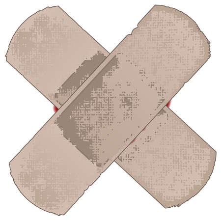 blooded: Two first aid sticking plasters with a small showing of blood