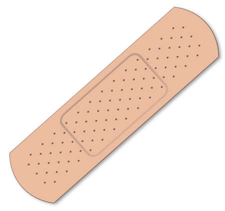 sticking: A typical first aid sticking plaster over a white background Illustration