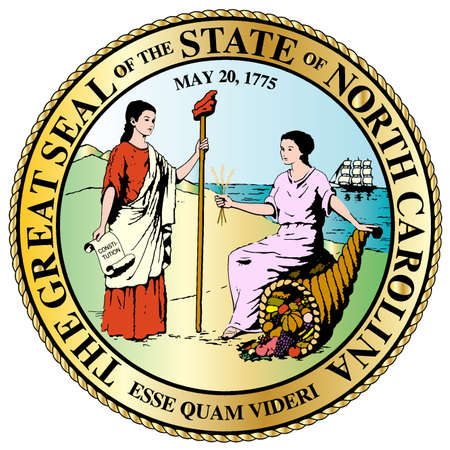 De North Carolina State Great Seal geïsoleerd op een witte achtergrond Stockfoto - 32767239