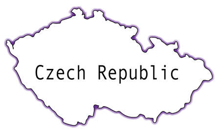 Outline map of the Czech Republic isolated over a white background