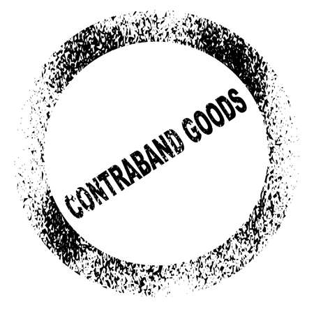 confiscated: A rubber stamp in black ink with the legend Contraband Goods over a white background