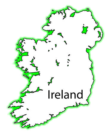 eire: Outline map of both Northern Ireland and Eire Southern Ireland over a white background