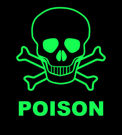 poison sign: Skull and crossbones poison sign over a black background