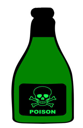 poison: A bottle of poison with the traditional skull and crossbones