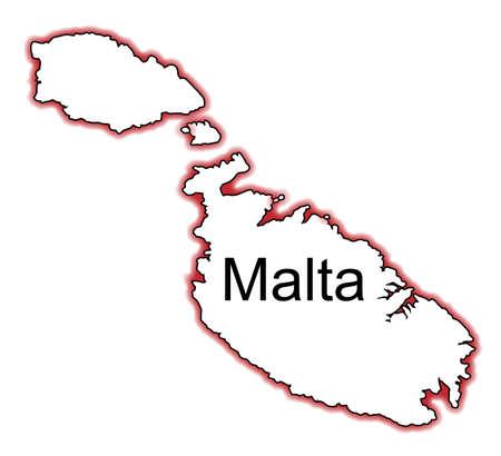 malta: Outline kaart van Malta over een witte achtergrond Stock Illustratie