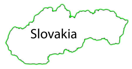 slovakian: Outline map of Slovakia over a white background Illustration