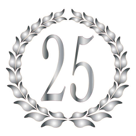 A 25th anniversary laurel over a white background