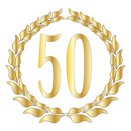 A 50th anniversary symbol over a white background