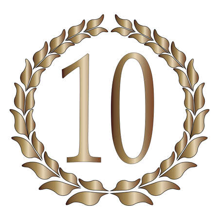 10th: A 10th anniversary symbol over a white background