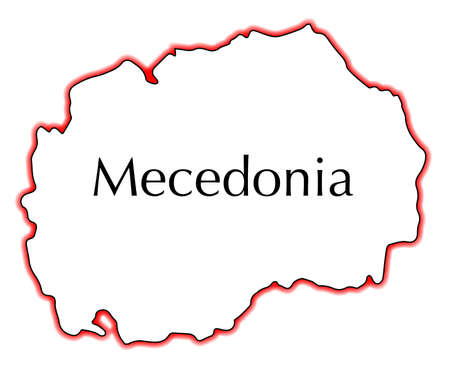 former yugoslavia: Outline map of Macedonia over a white background