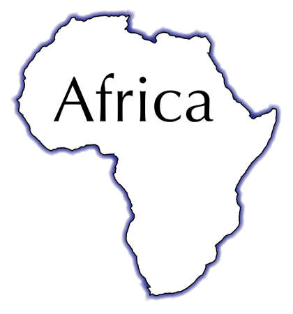 Outline map of Africa over a white background Ilustração