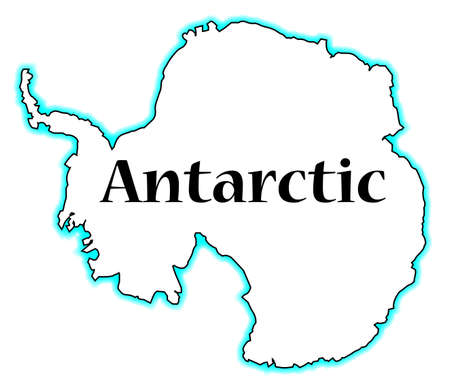 antarctic: Outline map of Antarctic over a white background