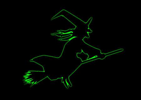 dessin au trait: Sch�ma indicatif d'une sorci�re Halloween sur un fond noir