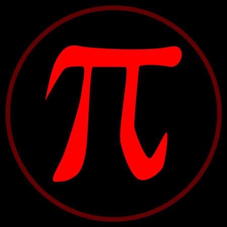diameter: Il Pi costante all'interno di un cerchio rosso su uno sfondo nero