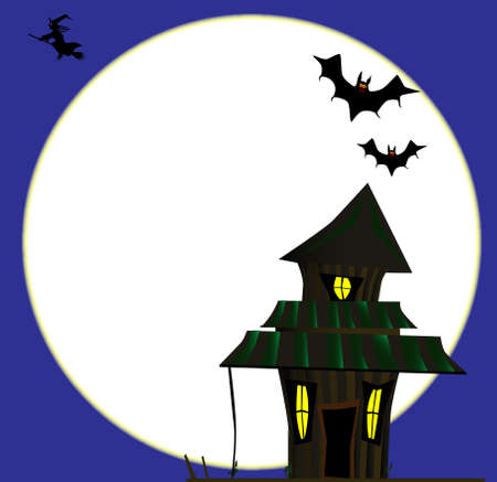 A witches cottage on Halloween with a full moon. Ilustração