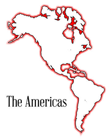 the americas: The Americas over a white background
