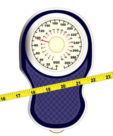 pinched: A set of bathroom scales with a pinched middle with measuring tape over a white background Illustration