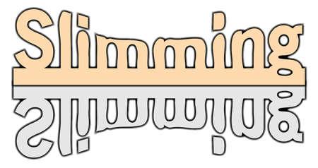 흰색 배경 위에 손질 허리 라인과 텍스트 슬리밍 일러스트