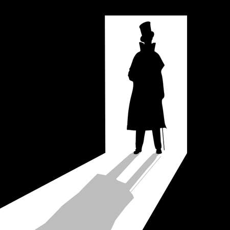 threat: Silhouette of a Victorian man in a doorway Illustration