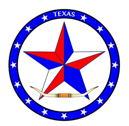 estrella azul: Una estrella blanca y azul rojo texas con cuernos de ganado
