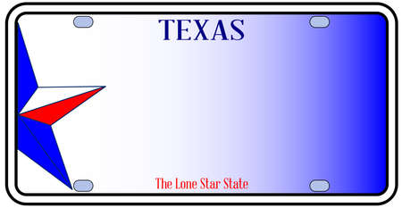 lone: Texas License Plate in red white and blue with Lone Star State text over a white background Illustration