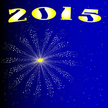 A celebration skyrocket explosion with fallout for 2015 New Year Vector
