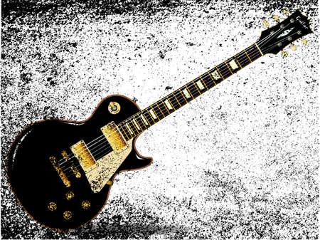 pickups: Il rock and roll chitarra definitiva in nero, isolato su uno sfondo bianco grunge.