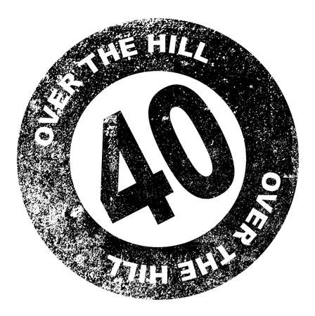over the hill: A over the hill at 40 rubber stamp over a white background Illustration