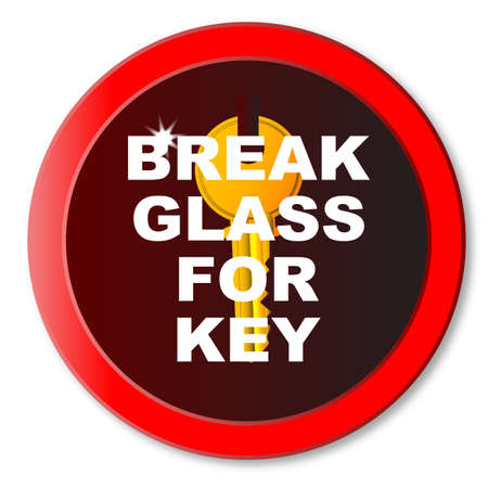 Break Glass For Key wall box over a white background
