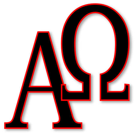 alphabet greek symbols: The Alpha - Omega symbols over a white background