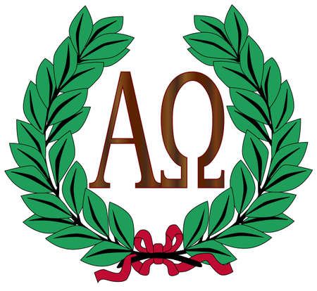 alphabet greek: The Alpha - Omega symbols over a white background within a wreath of olive