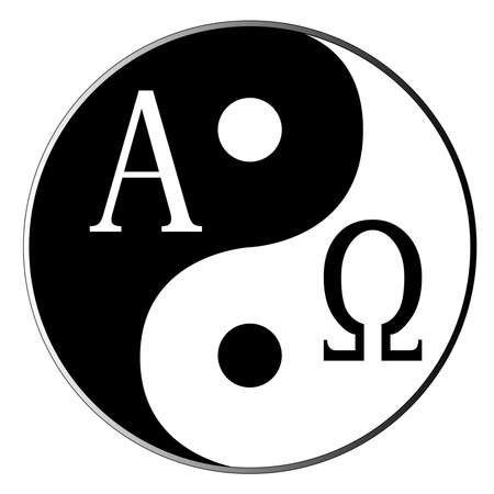 omega: Yin and Yang and Alpha Omega combined over white