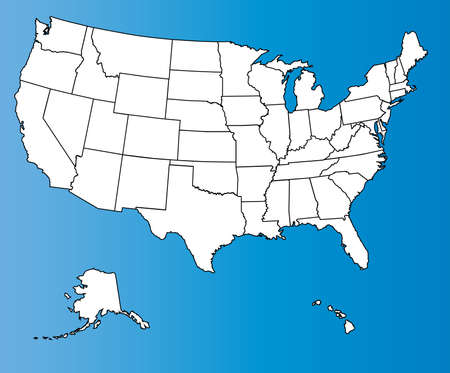An outline map of The United States of America