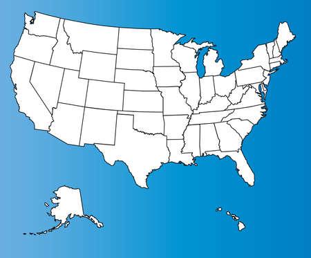 america del sur: Un mapa del esquema de los Estados Unidos de América
