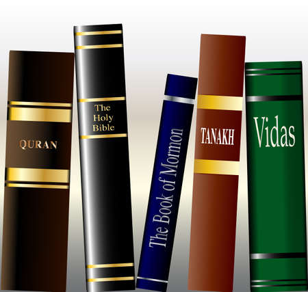 the scriptures: A collection of religious books on a bookshelf