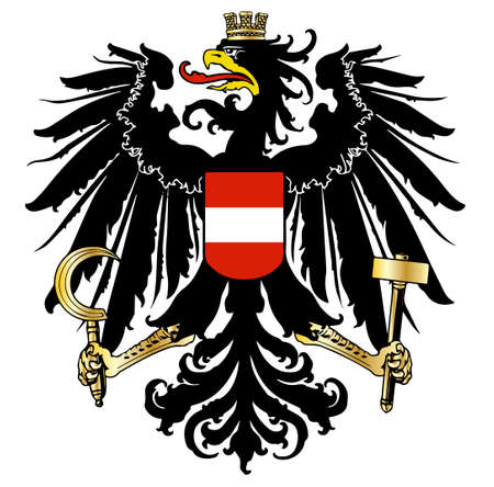 The Austrian coat of arms over a white background