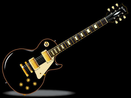 headstock: The definitive rock and roll guitar in black, isolated over a black background. Illustration