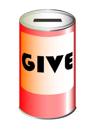 charity and relief work: A red charity tin set over a white background
