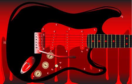 pickups: Una chitarra elettrica su uno sfondo rosso sangue Vettoriali