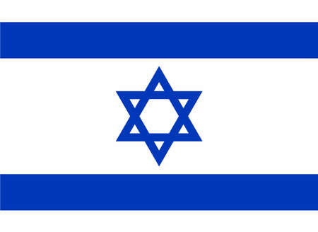 The flag of Israel in blue and white with the star of David Vector