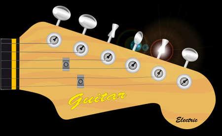frets: Un cuerpo s�lido el�ctrico cabezal de la guitarra tradicional aislado sobre negro