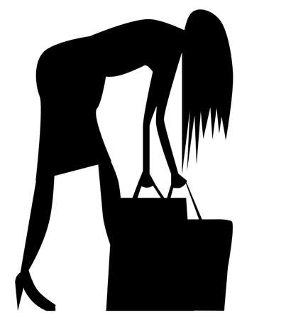 struggling: A woman struggling with her shopping bags. Illustration