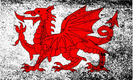 welsh: The Welsh Dragon flag in grunge style