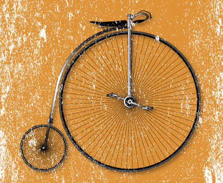old fashioned: Old fashioned grunge sepia background penny farthing bicycle